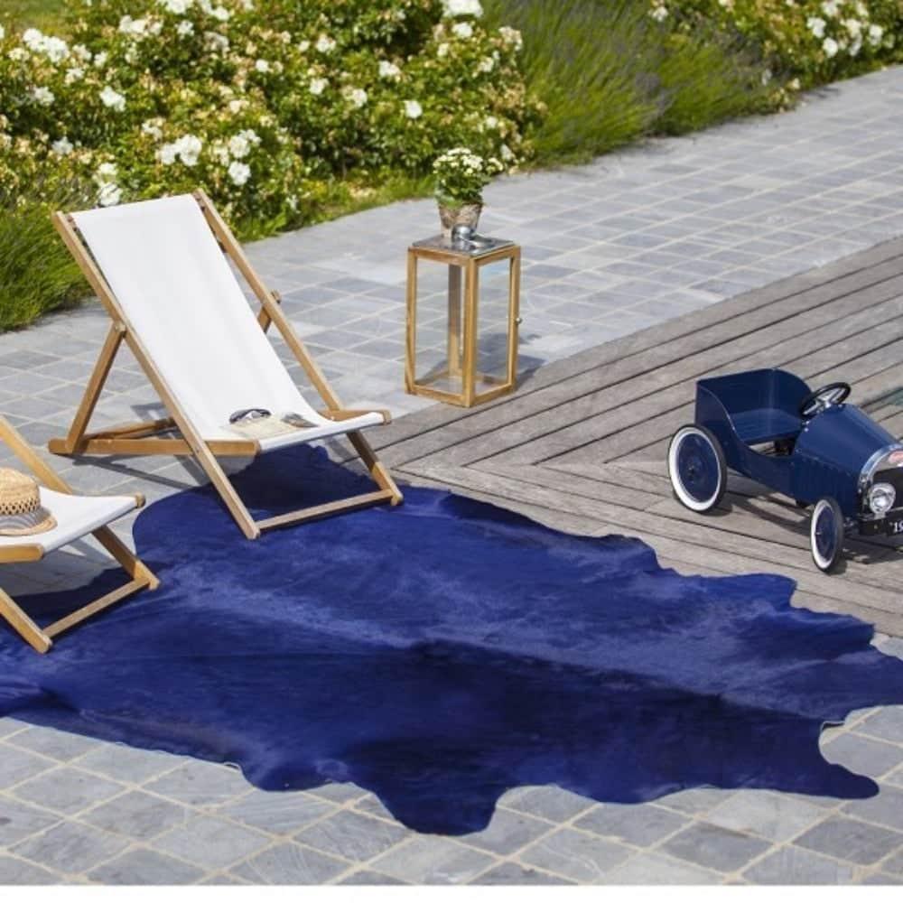blue cowhide rug
