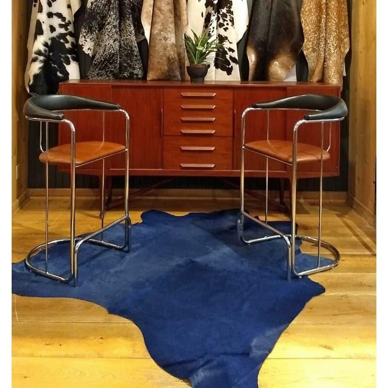 blue faux cowhide rug