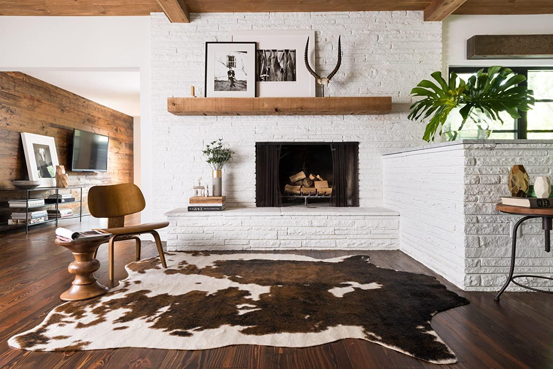 brown faux cowhide rug