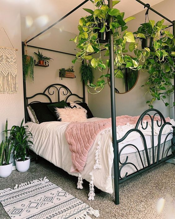 cutest canopy bed & I hung my plants on it 20+ Aesthetic Bedrooms