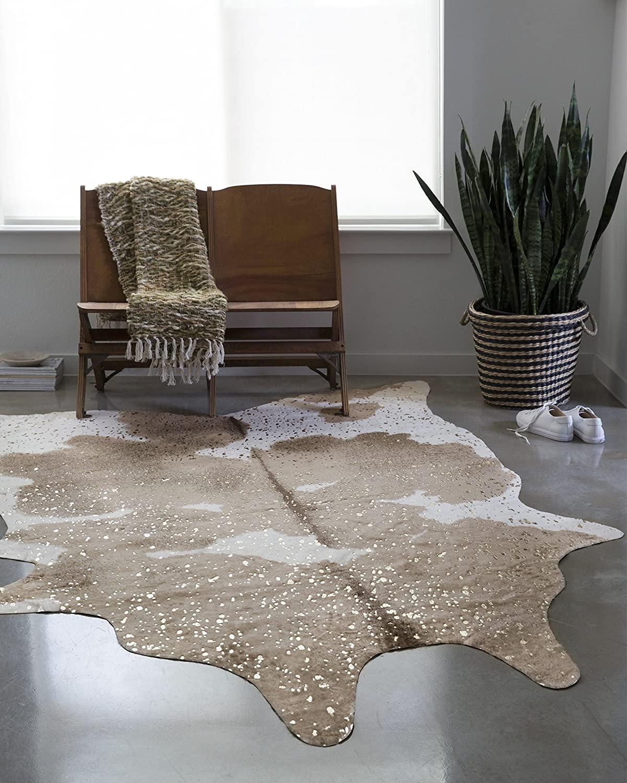 cowhide white living room