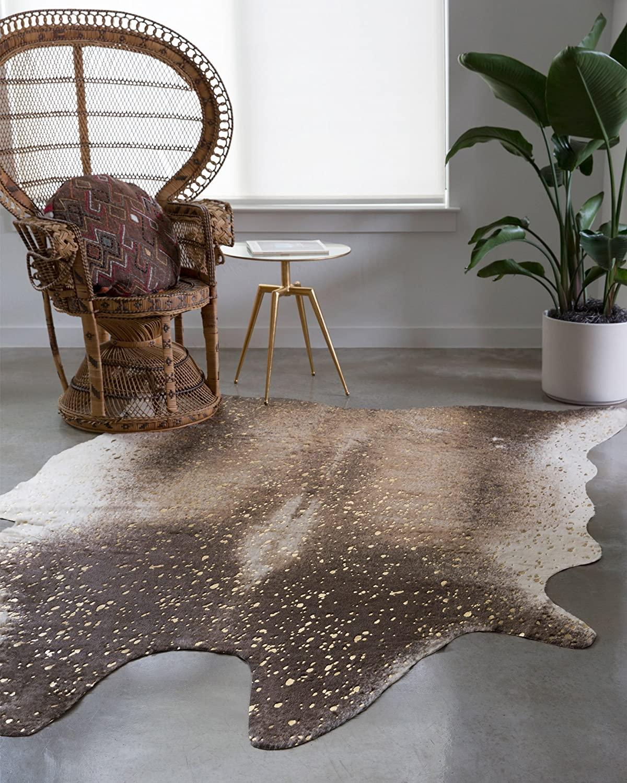 gold cowhide rug