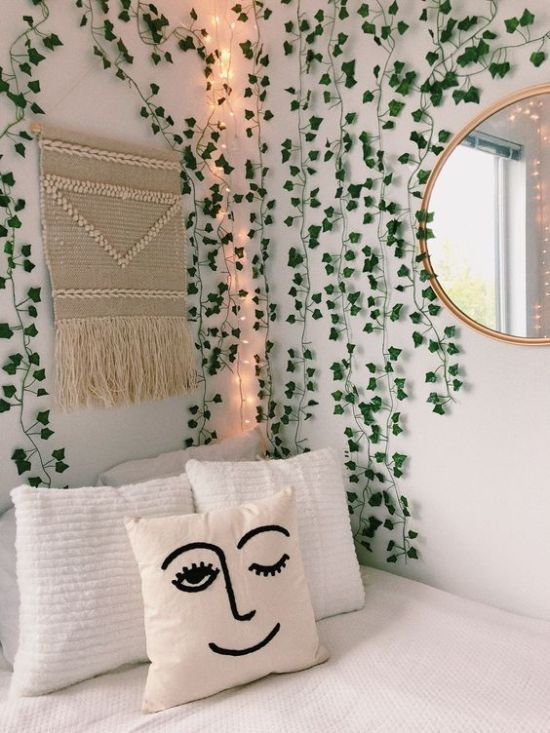 Bedroom with handmade macrame pieces from Etsy 20+ Aesthetic Bedrooms