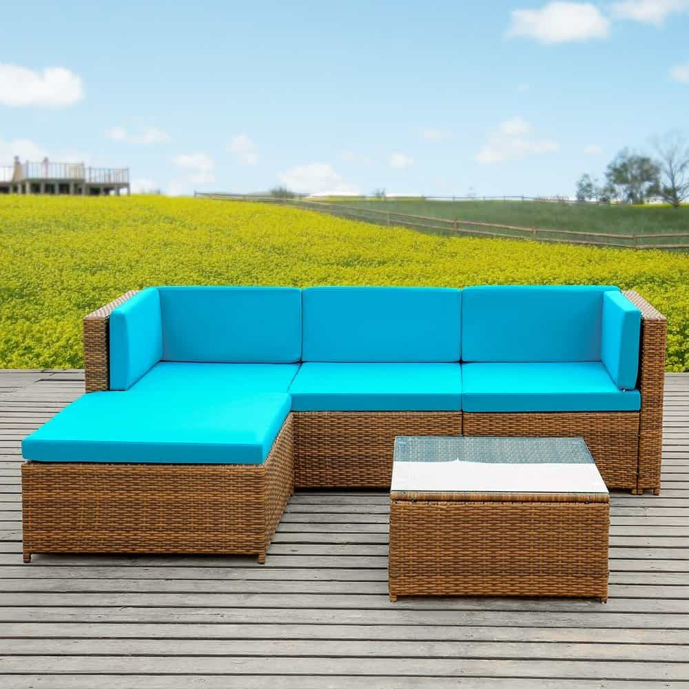 iKayaa 5PCS Rattan Wicker Patio Sofa Set Garden Furniture W Cushions Outdoor Corner Sectional Couch Set