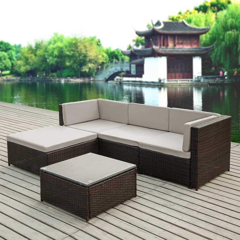 iKayaa 5PCS Rattan Wicker Patio Sofa Set