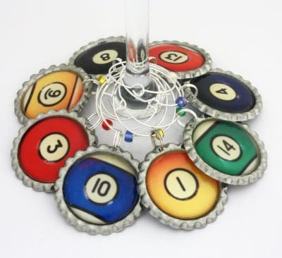 Billiard ball party favors Pool game wine charms