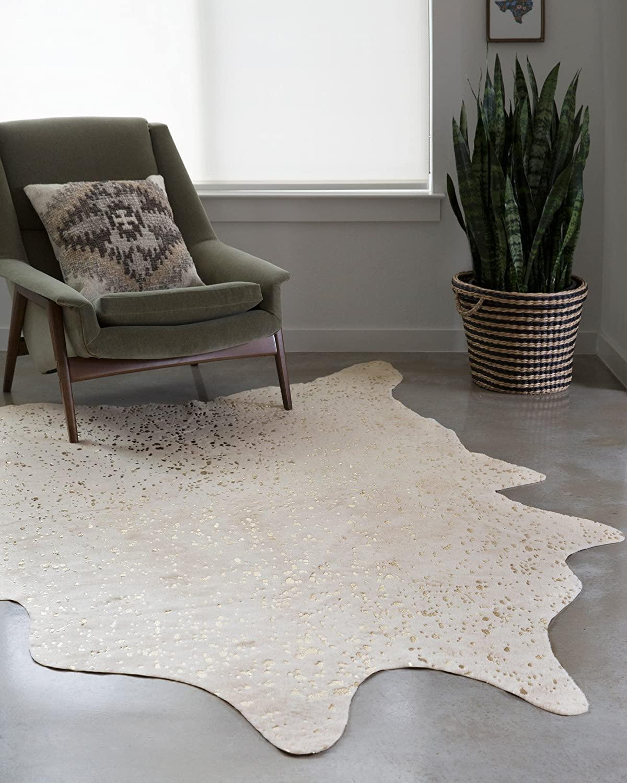 ivory cowhide rug