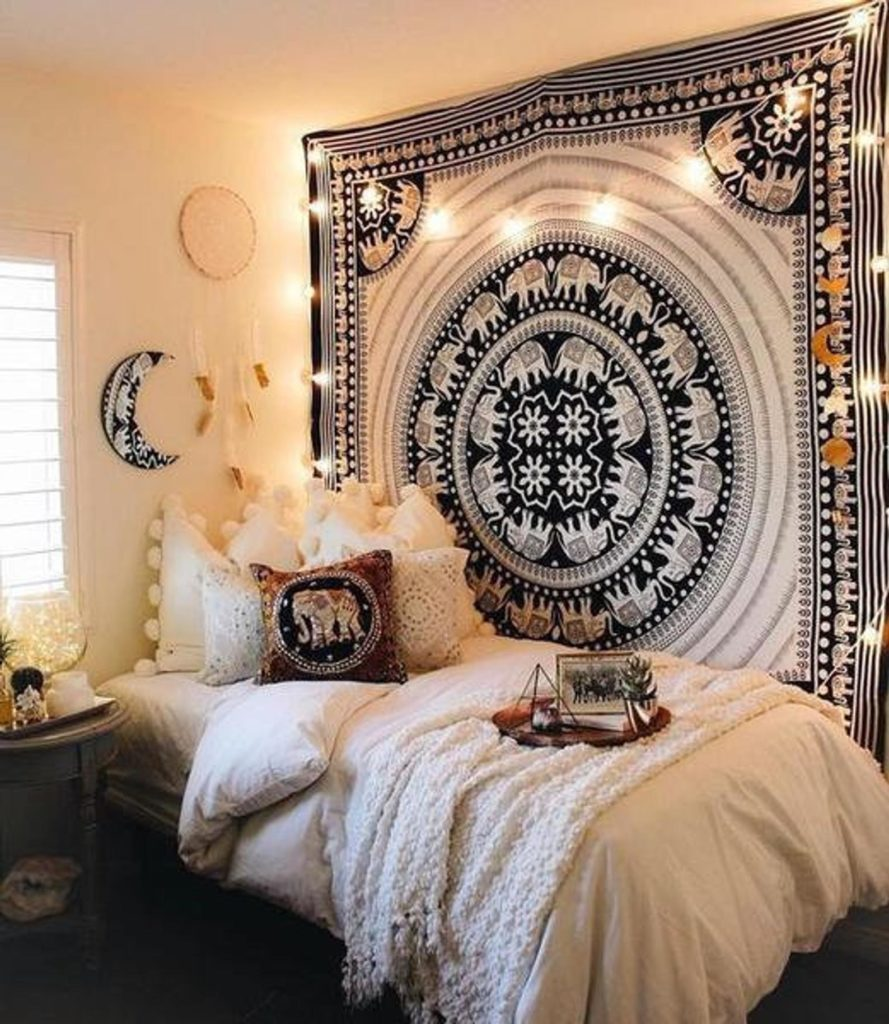 lack and White Elephant Mandala Tapestry Wall hanging