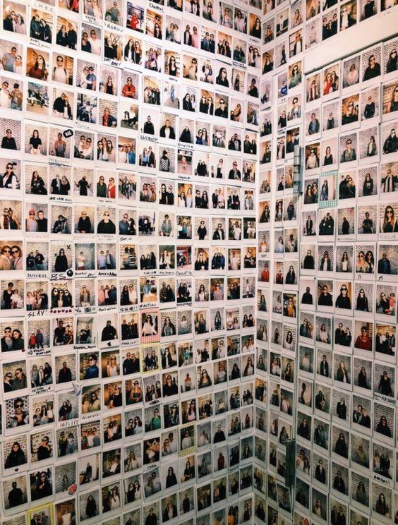 Bedroom with massive polaroid display 20+ Aesthetic Bedrooms