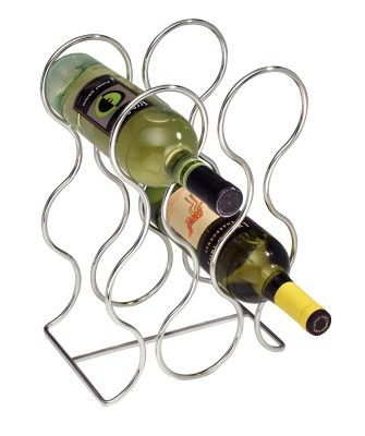 nterDesign Free Standing Wine Storage Rack for Kitchen Countertops - Holds 6 Bottles