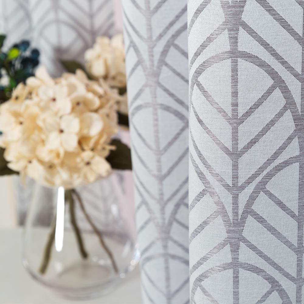Light Filtering Curtains for Windows Jacquard Curtain Panels for Living Room 84 inch Length Opaque Leaf Pattern Privacy Bedroom Curtains Grey Grommet Top, 2 Panels