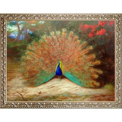 overstockArt Peacock & Peacock Butterfly, 1917 by Archibald Thorburn Framed Hand Painted Oil on canvas with Rococo Silver Frame