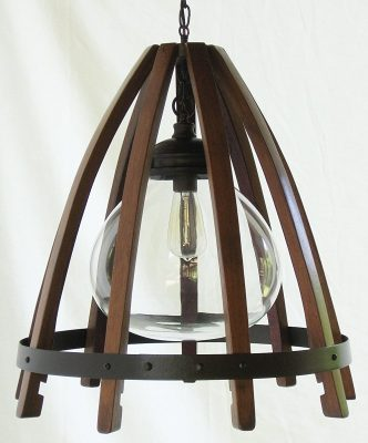 recycled oak wine barrel staves, hoop hanging pendant light