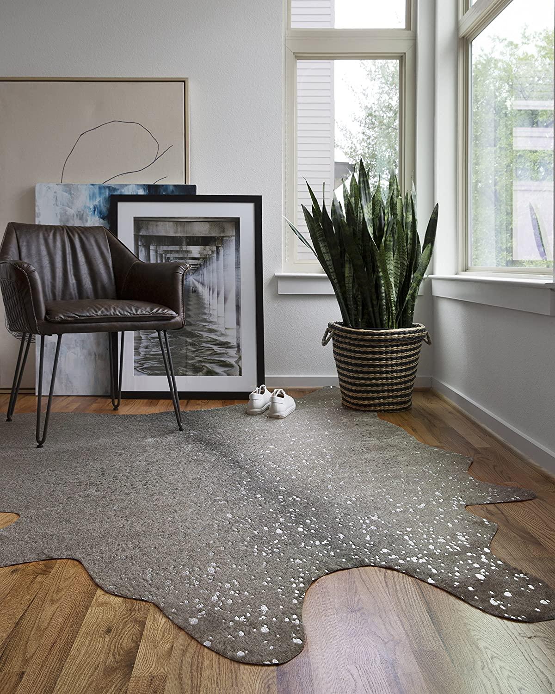 silver cowhide rug