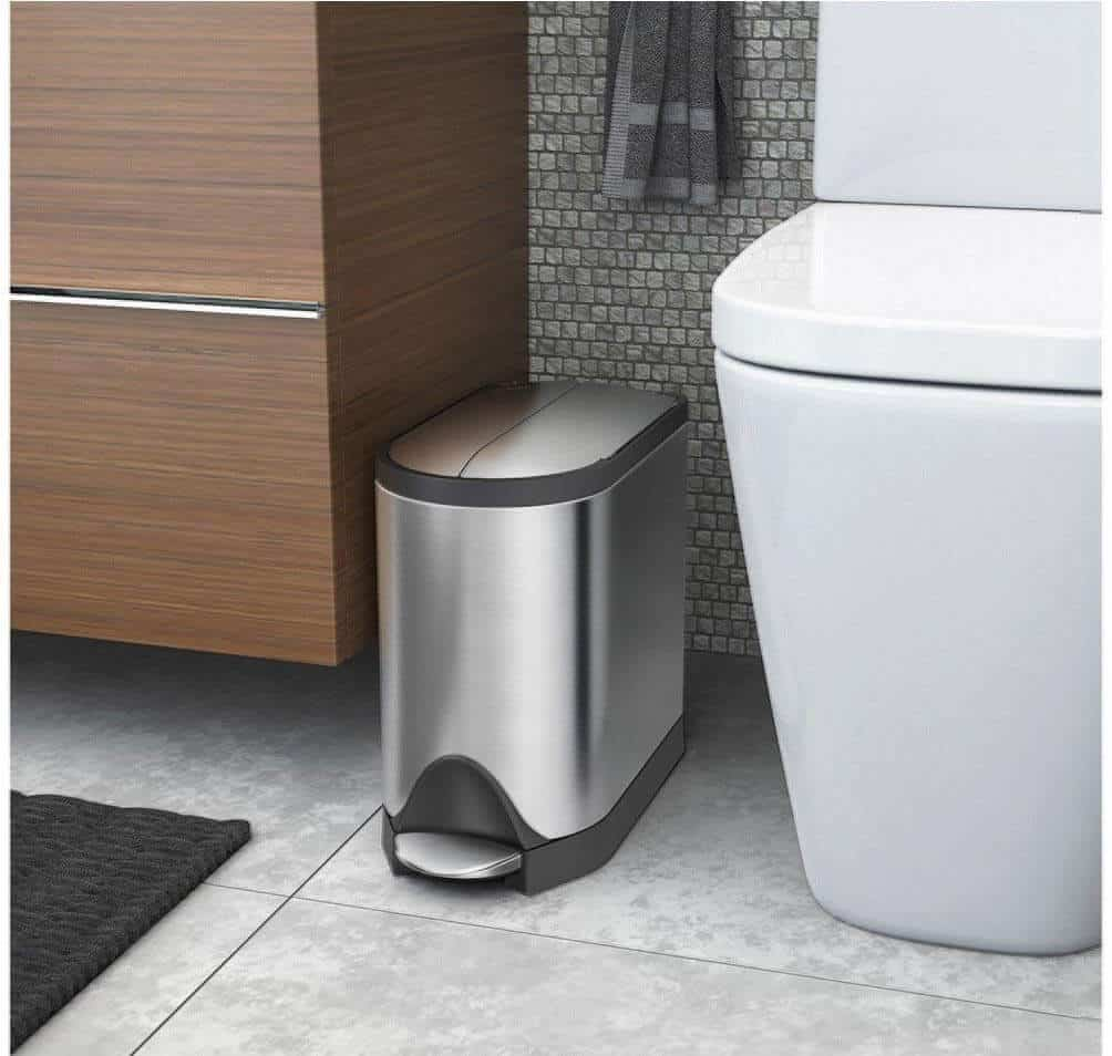 Butterfly Lid Bathroom Step Trash Can