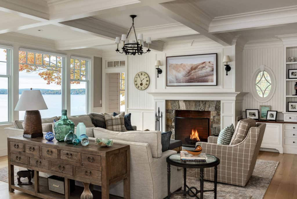 beautiful living room with a drawered sofa table