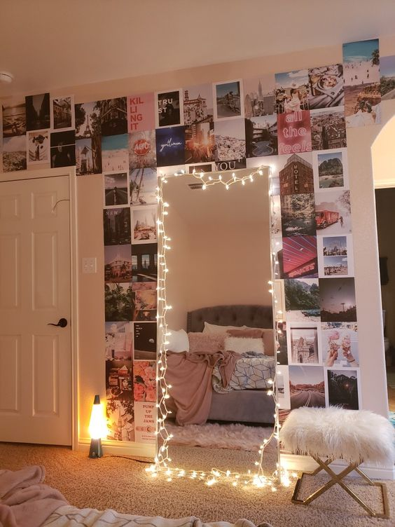 string them around your floor-length mirror 20+ Aesthetic Bedrooms